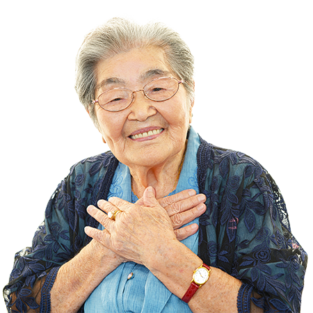 smiling older asian woman in need of senior living and an assisted living facility in san juan capistrano, ca